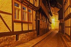 韦尔尼格罗德在晚上,德国 库存照片