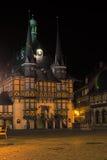 韦尔尼格罗德,德国- 2016年4月24日:中世纪城镇厅的看法 哈茨山,萨克森Anhalt,德国区  免版税库存照片