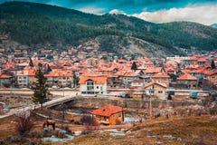 韦林格勒巴尔干的温泉首都在罗多彼州Mountsins保加利亚 免版税库存照片