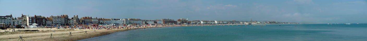 韦茅斯沿海岸区全景 免版税库存图片