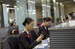韩亚航空在茵契隆airpor的登记处柜台 库存照片