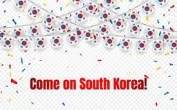 韩国与五彩纸屑的诗歌选旗子在透明背景,庆祝模板横幅的,传染媒介illustratio吊旗布 向量例证