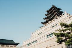 韩国传统建筑学景福宫宫殿在韩国 免版税库存照片