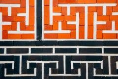 韩国传统样式砖墙 库存照片