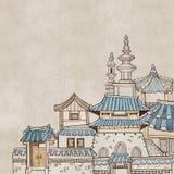 韩国传统房子B 库存例证