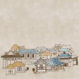 韩国传统房子E 库存例证