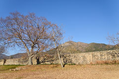韩国传统砖砌垒 库存图片