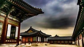 韩国宫殿在冬天 库存图片
