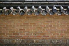 韩国宫殿墙壁  免版税库存图片