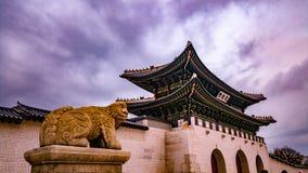 韩国宫殿的Gwanghwamun前门 免版税图库摄影