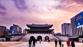 韩国宫殿的Gwanghwamun前门 免版税库存图片