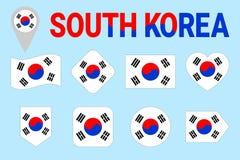 韩国旗子传染媒介集合 不同的几何形状 平的样式 韩国旗子收藏 能为体育使用,全国, 向量例证