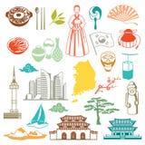 韩国无缝的样式 韩国传统标志和对象 向量例证