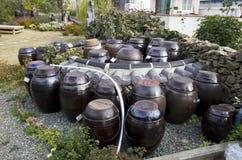 韩国村庄房子前院刺激传统调味汁 库存图片
