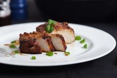 韩国样式猪排 免版税库存照片