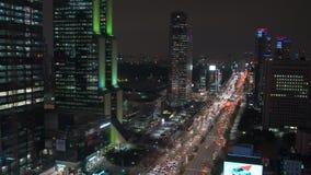 韩国汉城Gangnam区在晚上 股票视频