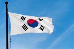 韩国沙文主义情绪在蓝天 库存图片