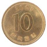 韩国被赢取的硬币 图库摄影