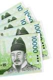 韩国被赢取的货币票据 库存照片