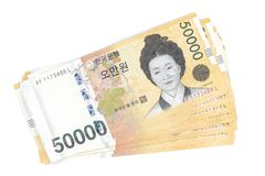 韩国赢取了货币按50 000被赢取的价值, 免版税库存照片