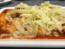 韩国食物用香肠和乳酪 图库摄影
