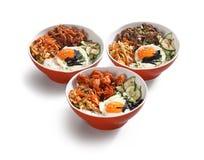 韩国食物碗 免版税库存照片