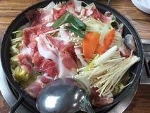 韩国食物shabu好午餐汉城 免版税图库摄影