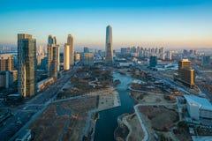 韩国,在Songdo国际企业分配的Songdo中央公园 免版税库存照片