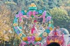 韩国- 10月31 :五颜六色的服装的舞蹈家参与 免版税库存图片