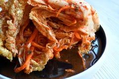 韩国kimchi sidedish在中立背景 免版税图库摄影