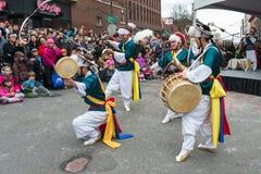 韩文传统农夫舞蹈 免版税库存图片