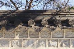 韩文传统墙壁 库存照片
