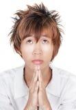 韩文纵向祈祷青少年 免版税库存照片