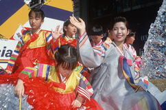 韩文美国在浮动在韩文日Parad 库存照片