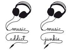 音乐上瘾者,传染媒介耳机 免版税图库摄影