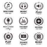 音乐与花圈葡萄酒传染媒介集合的演播室商标 行家和减速火箭的样式 免版税图库摄影