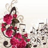 音乐与高音谱号的传染媒介设计的背景和玫瑰 库存照片