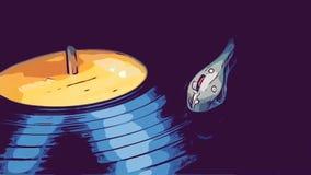 音乐乙烯基在圈的一部电唱机跑 向量例证