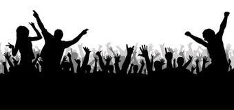 音乐会迪斯科,跳舞的人群剪影 库存例证