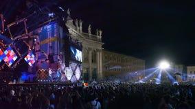 音乐会5月一日、全景阶段和正方形 免版税库存照片