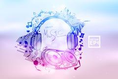 音乐俱乐部迪斯科事件的海报背景与彩虹颜色 向量例证