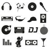 音乐俱乐部dj黑简单的象设置了eps10 免版税库存照片