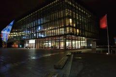 音乐厅在晚上在斯塔万格 库存照片