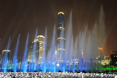 音乐喷泉在Haixinsha亚运会公园 免版税库存照片