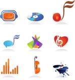音乐图标的收集 免版税库存图片