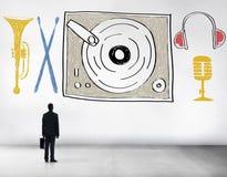 音乐多媒介转盘娱乐概念 免版税库存图片