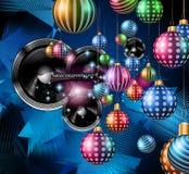 音乐夜事件的圣诞晚会飞行物,俱乐部海报 免版税库存图片