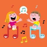 音乐孩子唱歌 库存照片