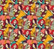 音乐家人群无缝的样式颜色 库存照片