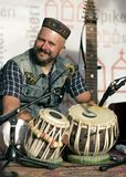 音乐家和tabla鼓 库存照片